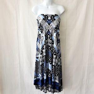 INC Sz L Blue Maxi Skirt Midi Dress Sundress EUC